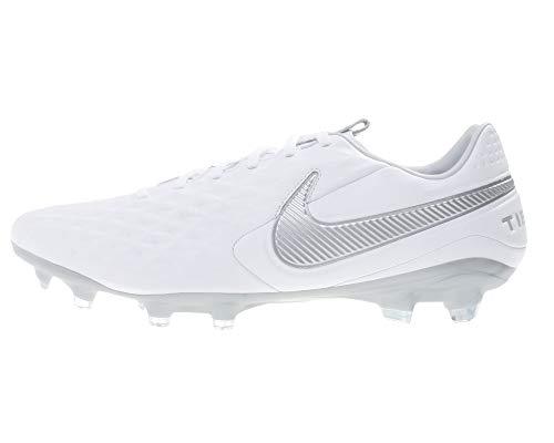 Nike Legend 8 PRO Fg, Scarpe da Calcio Unisex-Adulto, Bianco (White/Chrome/Metallic Silver 100), 42.5 EU