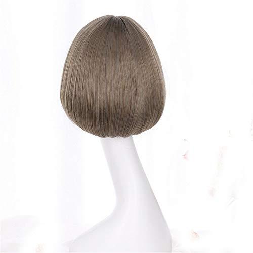 LEZDPP Synthétique Court Bob féminin Perruque Brune Cheveux naturels rotin Noir Lin Gris Perruque avec Korean Air Bangs 12 Pouces (Color : A)