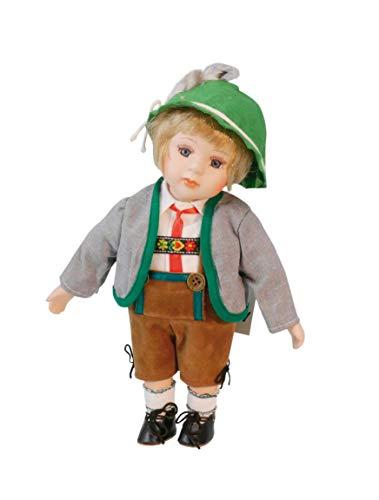 Musicbox Kingdom 17535 Spieluhr Bayerische Puppe aus Porzellan mit Melodie Edelweiß