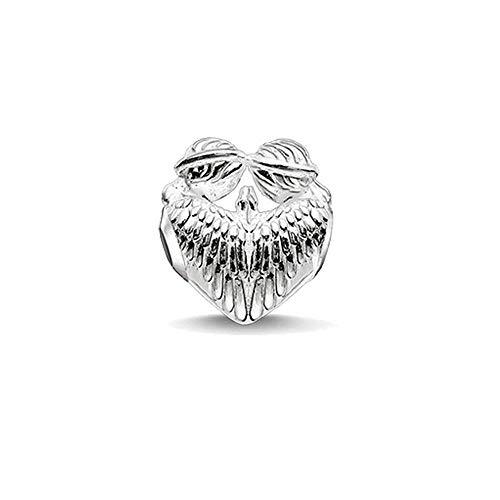 Pendentif en Argent 925 pour Femme,Fashion Cute Shining Angel Forme De Coeur Bracelet Perles Charme Fit Collier Cadeau d'anniversaire pour Femmes Dress Collocation Présent Festival
