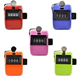 Somnr Assorted Color Handheld Tally Counter 4 Digit Display Golf Handheld Manual 4 Digit Number Tally Counter Clicker for Lap/Sport/Coach/School/Event (Pack of 5)