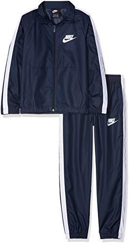 Nike Jungen B NSW Woven Track Suit Sportswear, Obsidian/White/White, 122 (Herstellergröße: X-Small)
