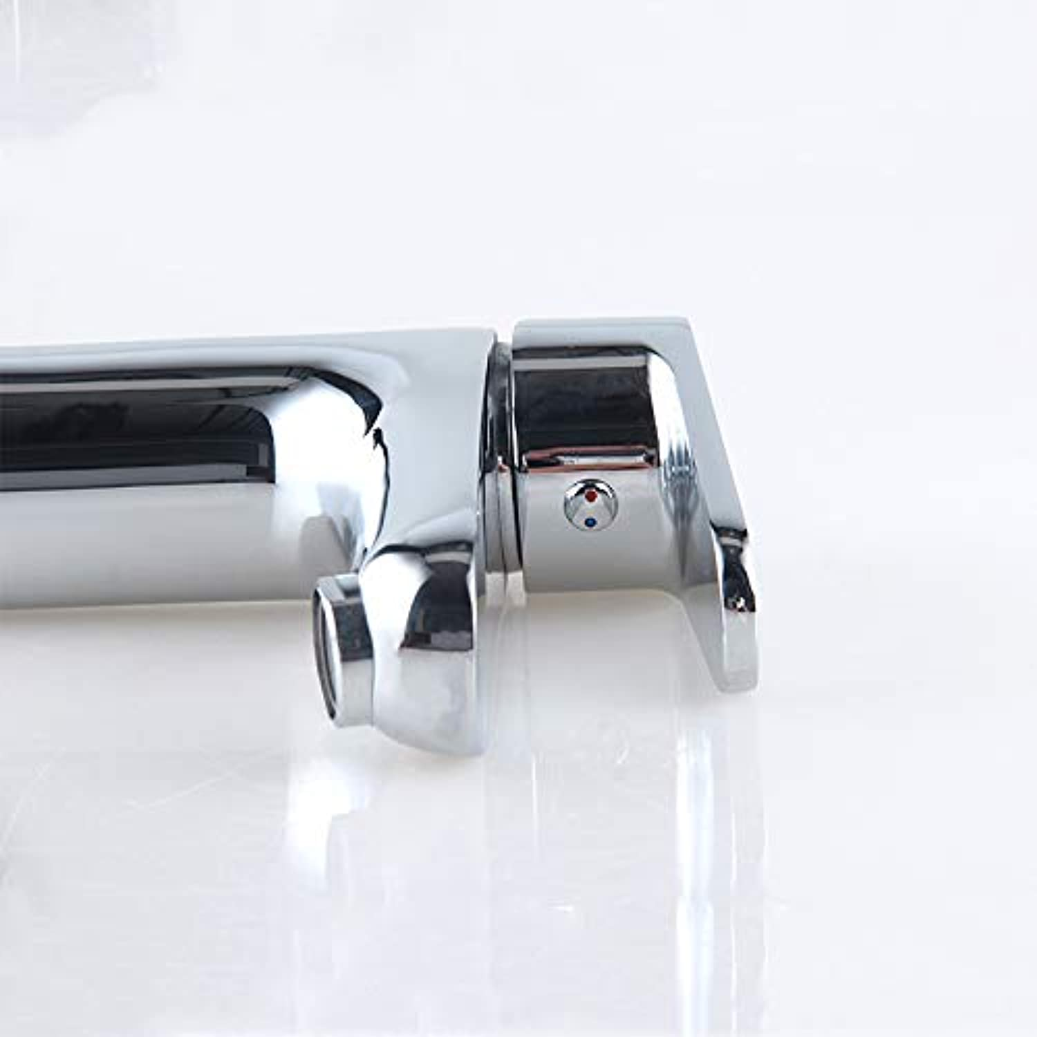 Hot and Cold Basin Full Copper Single Hole Single Handle Upper and Lower Basin Double Faucet
