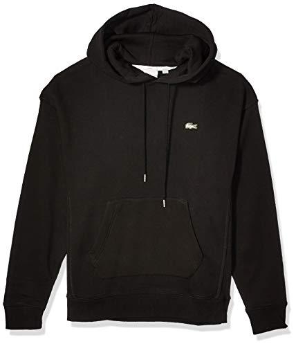 Lacoste Mens Long Sleeve Hoody Sweatshirt With Contrasted Piping Sweatshirt, Black/Black, M
