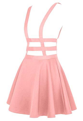 EXCHIC Women's Braces Skirt Solid A-Line Suspender Mini Skirt (L, Pink)