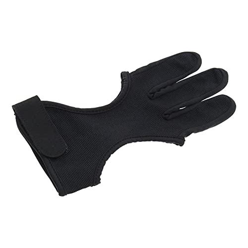S/M Bogenschießen Handschuh 3 Finger Schießen Jagd Lederhandschuhe Verstellbarer Rutschfester Schwarz