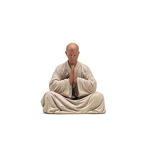 ZSQZJJ Small Statues for Decor at Home,Sitting Meditation Young Monk Tea Pet Ornaments Zen Buddha Statue Desktop Decoration