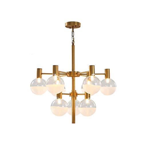 Raelf Nordic Club Comedor araña 9 Luces Modernas y Simples led araña Estilo Luces de Estilo Europeo de Oro araña Grande araña Sala de Estar iluminación Isla Chandelier E27 * 9 luz Creativa lámpara de