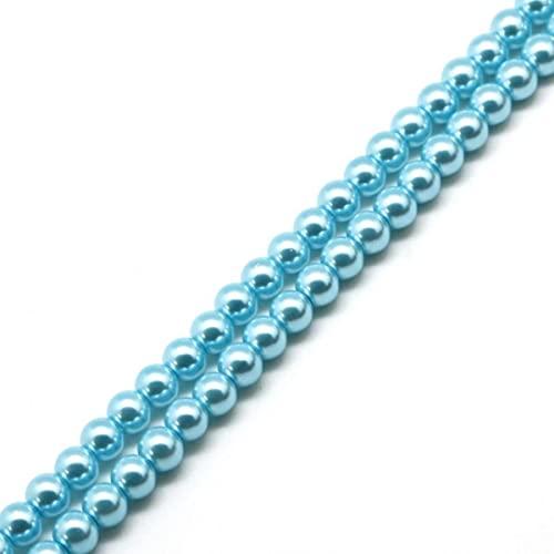 4 6 8 10MM 20-100PCS Perlas de vidrio Perlas redondas de imitación Perlas de bricolaje Pulsera Pendientes Dijes Collar de perlas para hacer joyas-turquesa, 10 mm 20 piezas