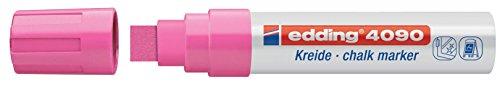 edding 4090 Kreidemarker - Farbe: Neonpink - Kreidestift / Fenstermarker - Beschriften von Fenster, Tafel und Glas - Feucht abwischbar