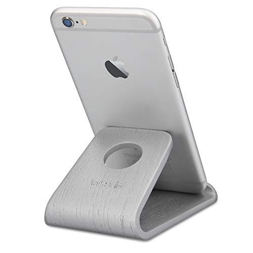 kalibri Handy Halterung Smartphone Ständer - Universal Halter kompatibel mit iPhone Samsung iPad Tablet u.a. - Tisch Stand Dock in Echtholz Silber