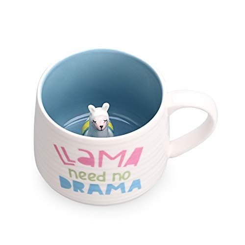 Ceramic Coffee Cup Funny Tea Cups Animal Inside with Lama Cartoon Handmade Mug For Friends Roommates Family or Children 3D Cute Animal Coffee Cup Surprise Gift Birthday Gift (13.5 Oz LLAMA)