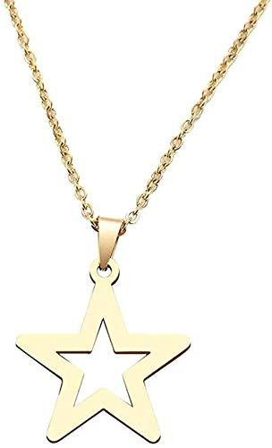 LKLFC Collar Collar de Acero Inoxidable para Mujer Clásico Hollow Star Gargantilla Colgante Collar Joyería de Compromiso Collar Colgante Regalo para Mujeres Hombres Niñas Niños