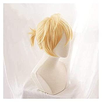SUCICI Vocaloid Kagamine Rin/Kagamine Len Short Blonde Heat Resistant Hair Cosplay Costume Wig + Track + Wig Cap 2-2  Color   2