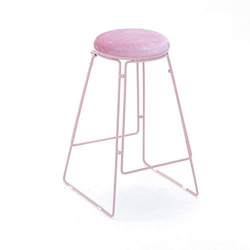QJY barkruk met voetensteun van ijzer en goud en ontbijtstoelen, bars, pub, teller, keuken en bar thuis. Pink-75cm