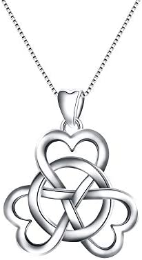 EVER FAITH Women s 925 Sterling Silver Good Luck 3 Love Heart Celtic Knot Simple Pendant Necklace product image