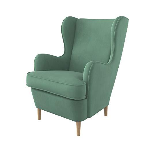 Furninero - Ohrensessel, Flügelstuhl, Flügel Sessel, gerundete Beine, Majestic Velvet Mint Stoff