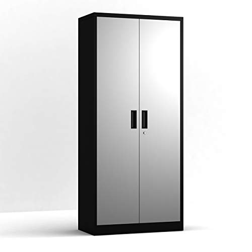 UINSOO Lockable Metal File Cabinet,Metal Cabinet with Adjustable Shelves and Five Layers and 2 Doors,Black and Grey Color,Big Metal Cabinet,Suitable for Office and Home and Hospital,one Year Warranty
