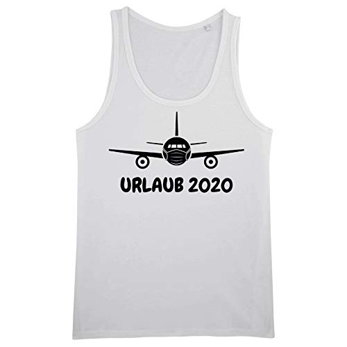 Gänseblümchendruck Fun Tank Top weiß Urlaub 2020 Flugzeug mit Maske Corona Reisen XL weiß