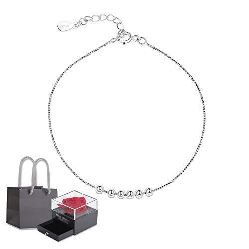 Elegante Pulsera Mujer, De Plata De Ley 925 Regalo Para Navidad DíA De San ValentíN CumpleañOs, Ajustable Pulsera Para Mujer Para Novia, Madre, Mejor Amiga (Size : Bracelet+rose gift box)