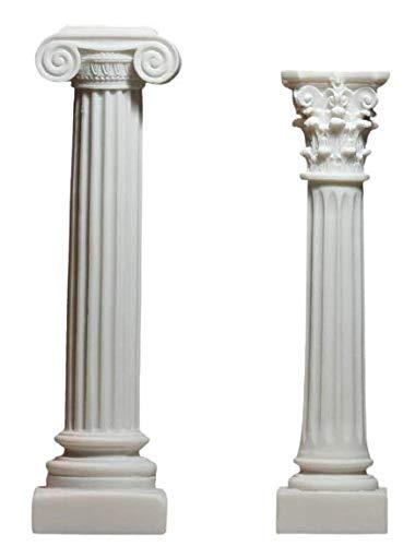 Juego de 2 columnas griegas de estilo iónico y corintio, pedestal decorativo