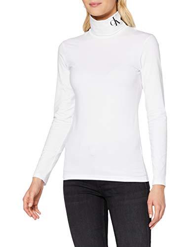 Calvin Klein Jeans Damen Silicone Ls Roll Neck Hemd, Bright White/Ck Black, M