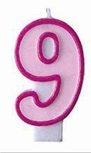 Partydeco Bougie n° 9 Rose