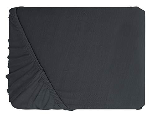 klassisches Jersey Spannbetttuch – erhältlich in 22 modernen Farben und 6 verschiedenen Größen – 100% Baumwolle, 70 x 140 cm, anthrazit - 2