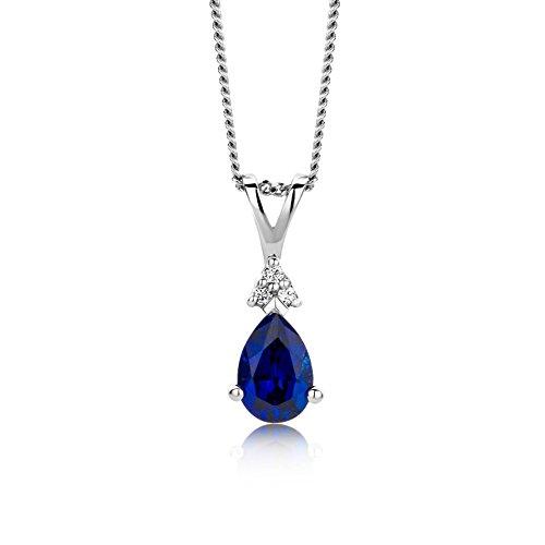 Miore Schmuck Damen 0.02 Ct Diamant Halskette mit Anhänger Edelstein/Geburtsstein blauer Saphir und Diamanten Brillanten elegante Kette aus Weißgold 9 Karat / 375 Gold
