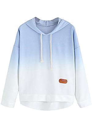 SweatyRocks Women's Long Sleeve Hoodie Sweatshirt Colorblock Tie Dye Print Tops Blue Ombre S