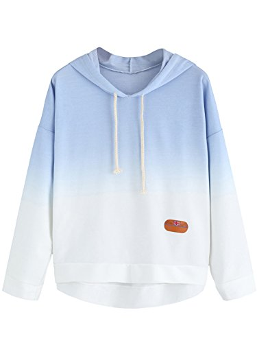 SweatyRocks Women's Long Sleeve Hoodie Sweatshirt Colorblock Tie Dye Print Tops Blue Ombre M