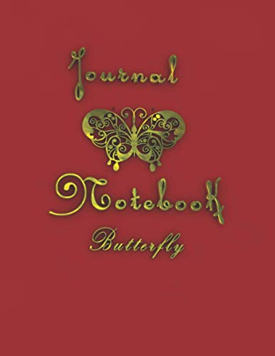 """Journal Notebook Butterfly: wonderful journal notebook with 3d artwork with the gold color to write daily, lined daily dairy, ( 8.5"""" x 11"""") 120 pages"""