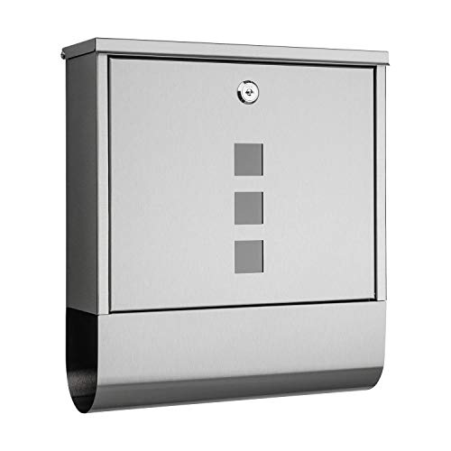 1PLUS Briefkasten Postkasten Wandbriefkasten mit Zeitungsrolle/Zeitungsfach mit schützender Beschichtung (ohne Namensschild, Edelstahl)
