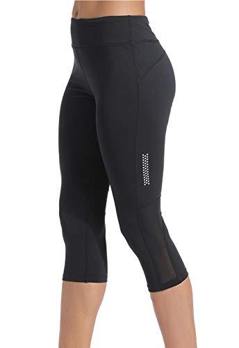 FITTOO Pantalones Deportivos Capri Mujer Yoga Leggings de Alta Cintura Elásticos y Transpirables para Running Fitness Negro S