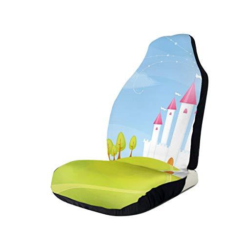 GUUi stoelhoezen auto beschermer auto mat, fantasie kasteel op de top van de heuvels en hete lucht ballon in zonnig hemel dag kinderen kunst, passen de meeste auto's, sedan, truck, SUV 1 PCS Meerkleurig