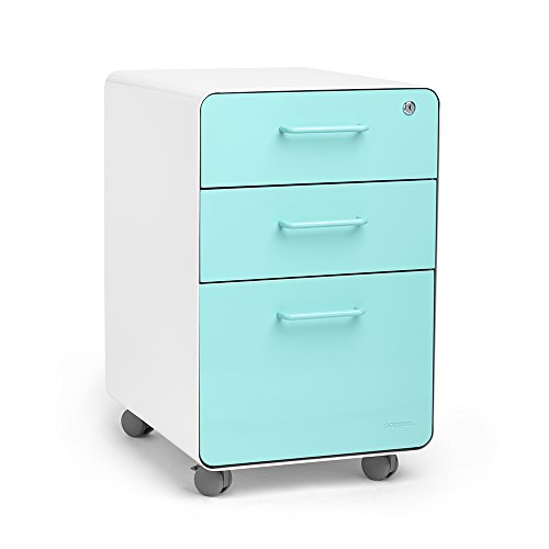 Poppin Aqua Stow 3-Drawer Mobile File Cabinet, Letter/Legal, Locking