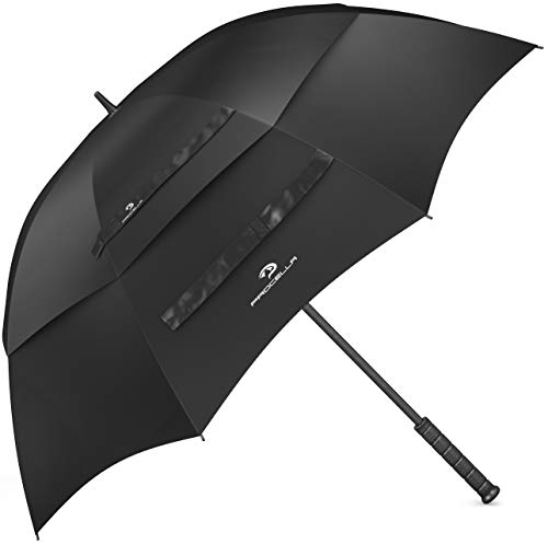 Procella Golf Umbrella, Windproof, Waterproof - 62 Inch Large, Heavy Duty Automatic Open, Vented Double Canopy Stick Umbrellas (Black)