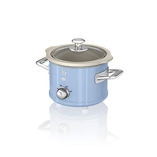 Swan SF17011BLN Olla de cocción lenta retro de 1.5 litros con olla de cerámica extraíble, 3 configuraciones de calor - Incluye libro de recetas, 120w