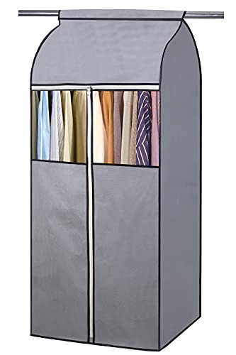 KEETDY 54' Well-Sealed Hanging Garment Rack Cover Garment Bags for Closet Storage Clothes with Clear Window for Suits Dresses Coats Jackets Frameless, Grey