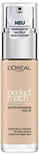 L'Oréal Paris Make up, Flüssige Foundation mit Hyaluron und Aloe Vera, Perfect Match Make-Up, Nr. 1.N Ivoire/Ivory, 30 ml