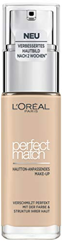 L'Oréal Paris Perfect Match Make-up 1.N Ivoire/Ivory, flüssiges Make-up, hautton-anpassend, pflegt...