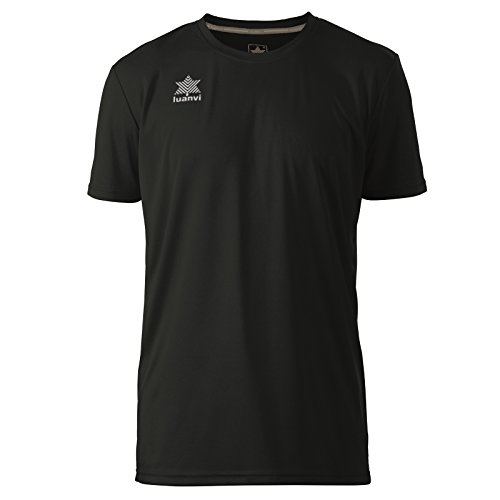 Luanvi Pol Camiseta de Deportes Manga Corta, Hombre, Negro,