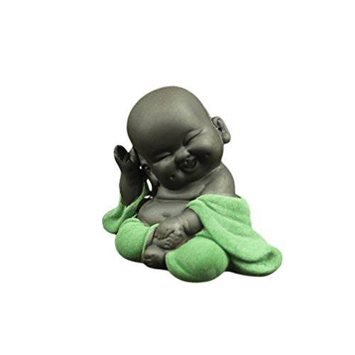 HEALLILY Ceramic Buddha Statue Laughing Maitreya Buddha Ornament Tea Sculpture Little Monk Decor Tea Set Accessories (Style Honest Smile, Light Green)