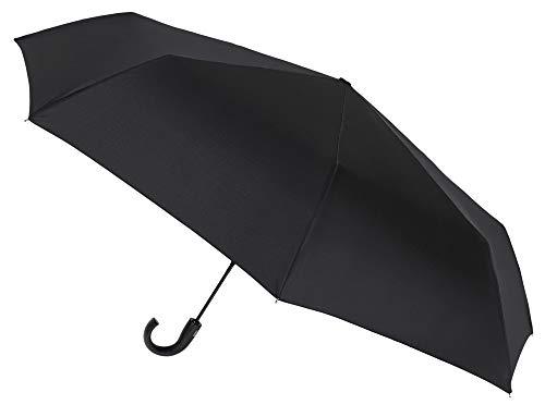 Paraguas XXL Plegable automático para Golf. Amplia Cobertura y fácil manejo. Antiviento y Acabado Teflón Que repele el Agua (Negro)