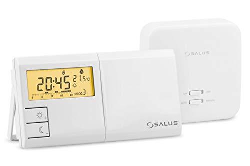 Salus 091FLRFv2 Funk-Raumthermostat Elektronischer Temperaturregler Digital Thermostat mit Wochenprogramm und Empfänger, Weiß