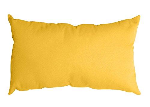 Cojín alargado amarillo. Rectangular