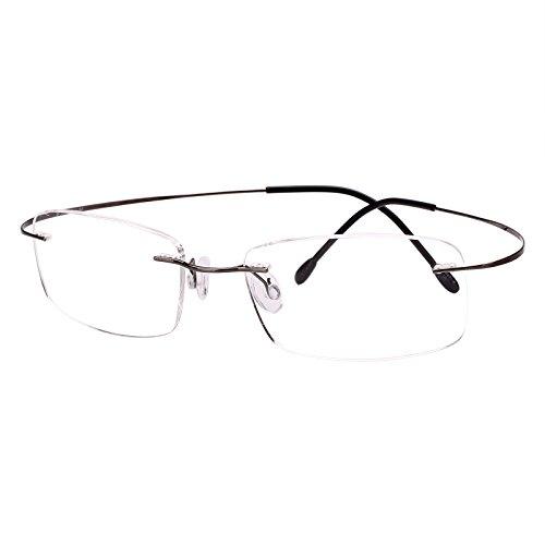 Agstum Titanium Rimless Flexible Frame Hingeless Optical Eyeglasses Clear Lens (Gunmetal, Non-Prescription Clear Lens / 55)