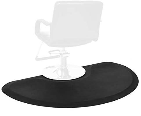 Barber Shop Chair Mat Anti-Fatigue Floor Mat 5′x3′ Salon Floor Mat - Black Semi Circle Salon Mat for Hair Stylist - 1...