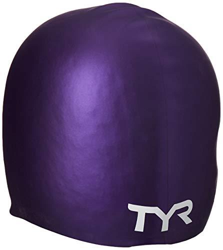 TYR Long Hair Silicone Swim Cap, Purple