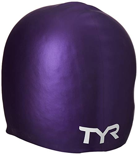 TYR Long Hair Silicone Swim Cap, Purple